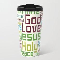 Names and Attributes of Jesus Word Cloud Travel Mug