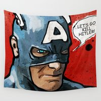 america Wall Tapestries featuring Captain America by Ed Pires