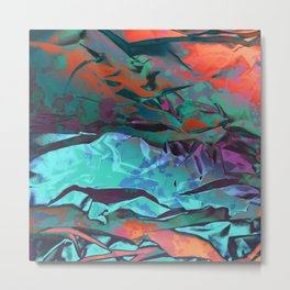 Tannhäuser's Gate. Dimensional Orange, Green and Teal Abstract. Metal Print