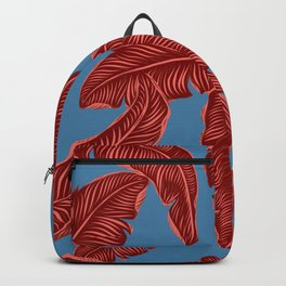 Banana leaves tropical leaves Blue Backpack