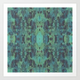 Sycamore Kaleidoscope - Graphite blue green Art Print