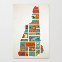 New Hampshire quilt-style screenprint Canvas Print