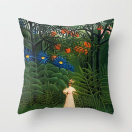 'Woman walking amid Tropical Blue Cornflowers in an exotic forest' by Henry Rousseau Throw Pillow