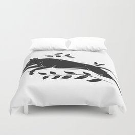 Jumping Dog With Leaves –black palette Duvet Cover
