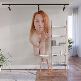 8726s-MM Clear Eyed Art Nude Model Red Hair High Key Light Wall Mural