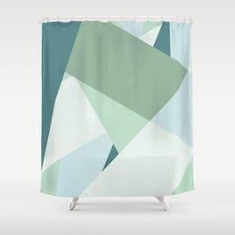 Modern abstract beach color block geometric stripes blue green pattern Shower Curtain