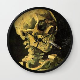 SKULL OF A SKELETON WITH A BURNING CIGARETTE Wall Clock