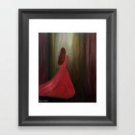 Lady in Red – Oil Framed Art Print