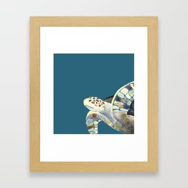 Watercolor sea turtle with teal background Framed Art Print
