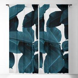 Indigo Blue Plant Leaves Blackout Curtain