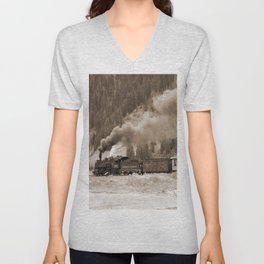 Steam Hauled Train - Engine 486 Unisex V-Neck