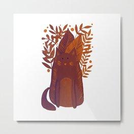 Cat and foliage - autumn palette Metal Print
