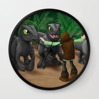 how to train your dragon Wall Clocks featuring How to Train Your Dinosaur by Jeremy Kohrs