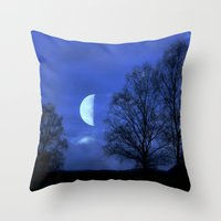 kindle Throw Pillows featuring Moon between Trees  - JUSTART © by JUSTART