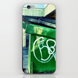 Green graffiti dumpster. iPhone Skin