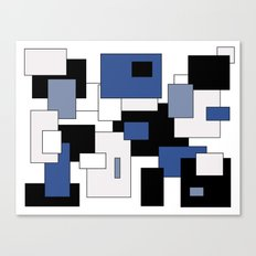 Squares -  gray, blue, black and white. Canvas Print