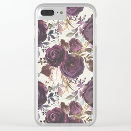 Pastel burgundy violet pink watercolor roses floral Clear iPhone Case