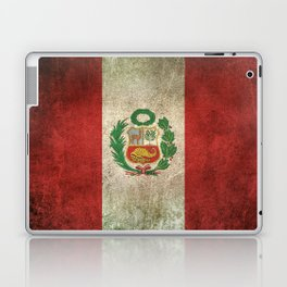 Old and Worn Distressed Vintage Flag of Peru Laptop & iPad Skin