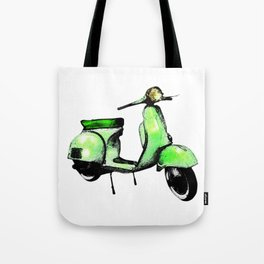 Green Vespa Scooter Tote Bag