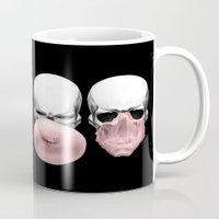 bubblegum Mugs featuring Skulls chewing bubblegum by Piotr Burdan