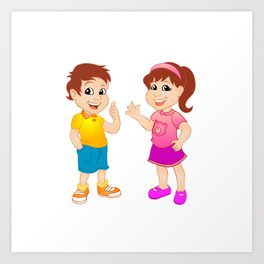 Boy and girl. Art Print
