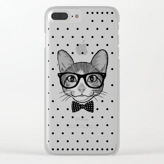 Cat Hipster With Bow Tie - Polka Dots Pattern Clear iPhone Case