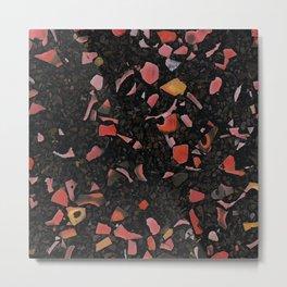Black terrazzo and orange red Metal Print