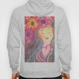 He Loves Us : Best friend with flowers Hoody