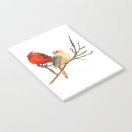 The Perfect Pair - Male and Female Cardinal by Teresa Thompson Notebook