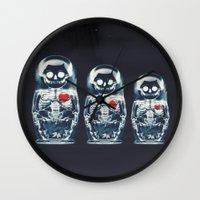 doll Wall Clocks featuring Nesting Doll X-Ray by Ali GULEC