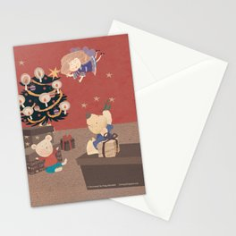 Red Christmas with bears Stationery Cards