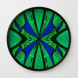 Art Deco Gem Tone Emerald Indigo Boho Mandala Print Wall Clock