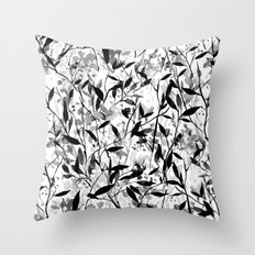Wandering Wildflowers Black and White Throw Pillow