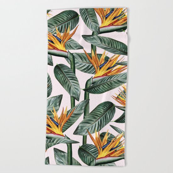 Bird Of Paradise Pattern #society6 #decor #buyart Beach Towel