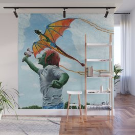 Goblin Flying Raibow Dragon Kite Fantasy Art Wall Mural