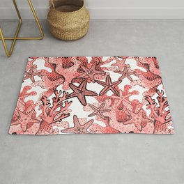 Living Coral and starfish, Coral reef Rug