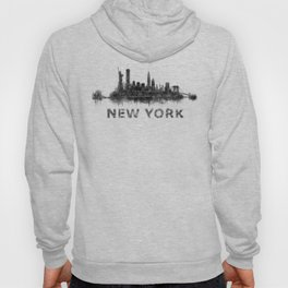 NY New York City Skyline NYC Black-White Watercolor art Hoody