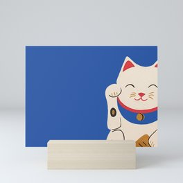 Blue Lucky Cat Maneki Neko Mini Art Print
