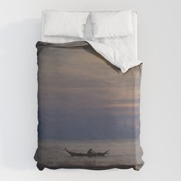 Rowing into the sunset II Duvet Cover