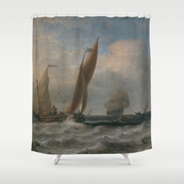 Willem van de Velde the Younger - Fishing Boats at Sea Shower Curtain