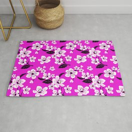 Light Purple & White Sakura Cherry Tree Flower Blooms on Dark Fuchsia Purple Hawaiian Floral Pattern Rug