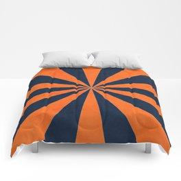 navy and orange starburst Comforters