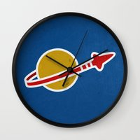 1989 Wall Clocks featuring Blue Spaceman by Derek Temple