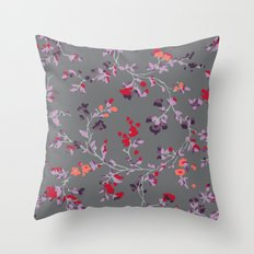 floral vines - dark grey and lilacs Throw Pillow
