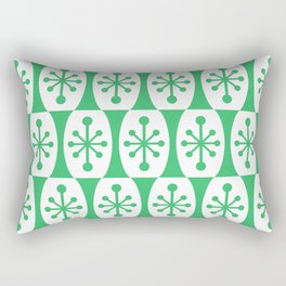 Mid Century Modern Atomic Fusion Pattern Green Rectangular Pillow