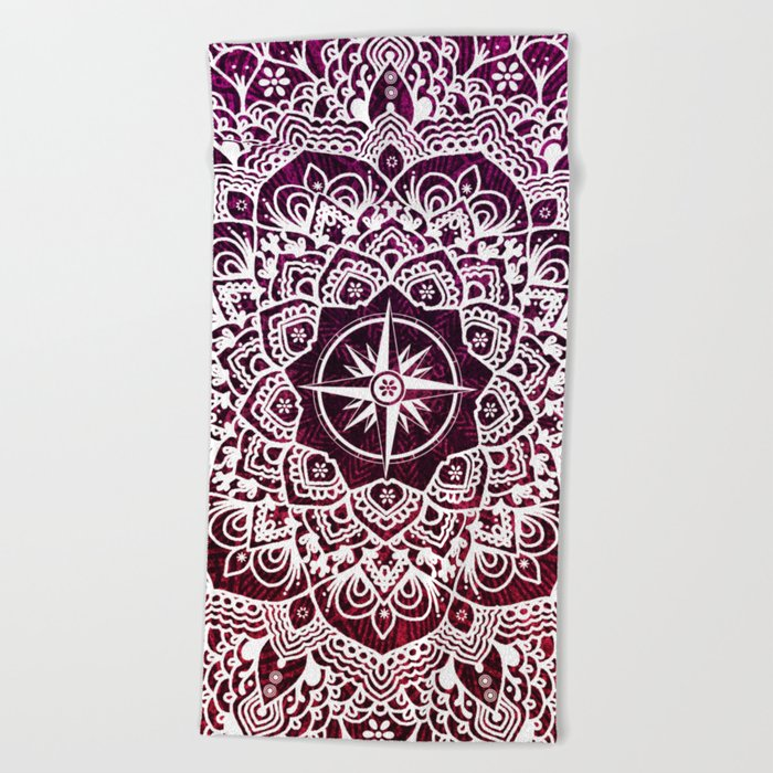 Voyaging Spirit Purple Red Mandala Beach Towel