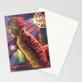 ciberpunk suspect walking in the city Stationery Cards