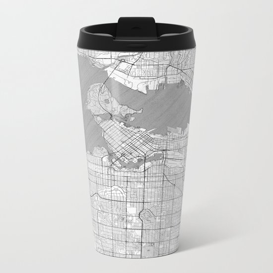 Vancouver Map Line Metal Travel Mug