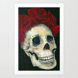 Sugar Skull with Roses 1 Art Print