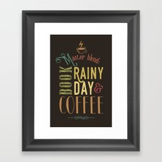 Coffee, book & rainy day Framed Art Print